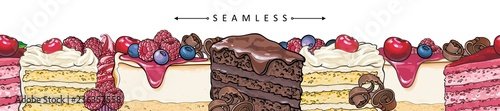 Foto Cakes and pies horizontal seamless border pattern in sketch style - beautiful frame with hand drawn bakery product with fruits and berries