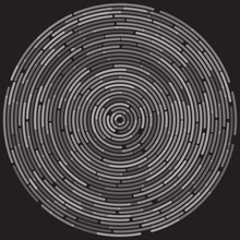 Monochrome Abstract Dashed Random Concentric Circles Abstract Background. Vector Illustration For Design Your Website And Print