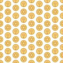 Hanukkah Gelt Seamless Pattern - Gold Gelt Featuring Star Of David And Menorah Design Made For Hanukkah