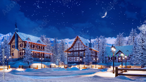 Fényképezés Cozy snowbound european township among snowy alpine mountains with illuminated half-timbered houses at calm winter night with half moon in starry sky