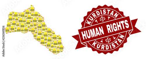 Fotografie, Obraz  Human rights combination of yellow vest map of Kurdistan and seal stamp template