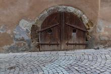 Rustic Old Wooden Double Door To Cellar, Germany, Europe