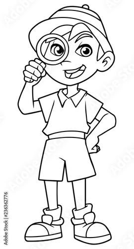 Fotografía Cartoon line art illustration of happy little explorer with magnifier