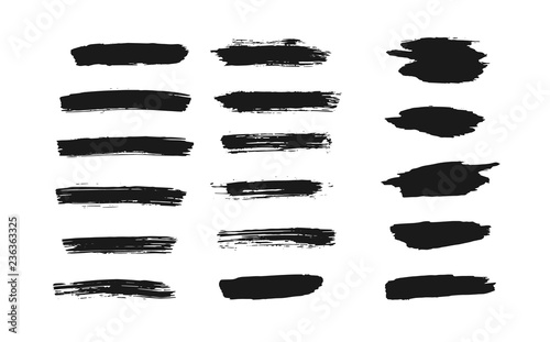 Fotomural Set of isolated black grunge thick ink brush strokes