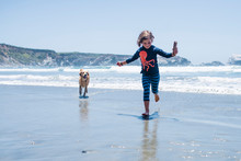 Full Length Of Playful Girl With Dog Running On Shore At Beach During Sunny Day