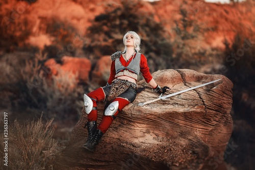 Photo  wild hunt,witcher,cosplay,landscape,sky,peak,rock,trekking,view,outdoors,climbin