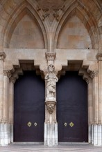 Portal, Entrance Doors, St. Bartholomew, Roman Catholic Parish Church, Plaza De Sa Constitucio, Soller, Serra De Tramuntana, Majorca, Balearic Islands, Spain, Europe