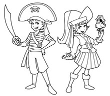 Full Length Line Art Illustration Of Two Cute And Happy Children, Boy And Girl, Smiling While Wearing Pirate Costumes During Carnival Party Against White Background For Copy Space.