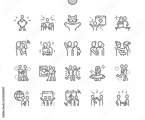 Fotografie, Tablou  International Hug Day Well-crafted Pixel Perfect Vector Thin Line Icons 30 2x Grid for Web Graphics and Apps