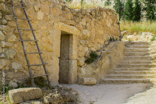 Vászonkép A retro style stone house in Nazareth Village Israel
