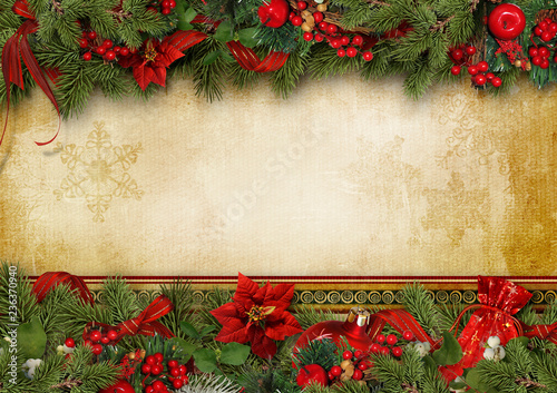 Obraz Christmas greeting card with holly, poinsettia and firtree - fototapety do salonu