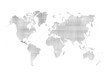 grey paper world map isolated on white background
