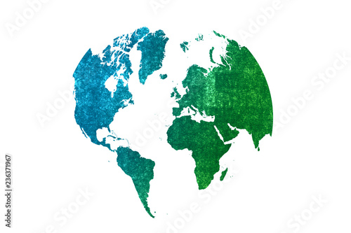 Fotografie, Tablou  watercolor earth globes isolated on white background