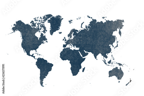 Photo  blue watercolor world map isolated on white background