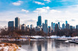 Chicago Skyline viewed from South Pond in Lincoln Park Chicago
