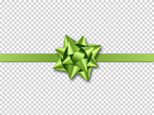 Green Bow With Ribbon Isolated On Transparent Background. Realistic Design Element For Cards, Invitations, Posters And Banners. Vector Illustration