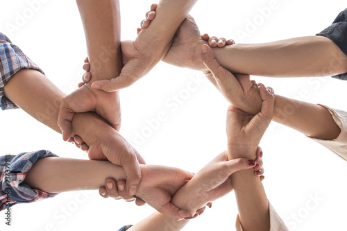 Fototapety, obrazy: under view friendship People partnership teamwork crossed hands finishing up meeting show unity on white background , Business partner  teamwork concept