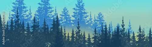 Foto auf AluDibond Turkis winter wonderland magical pine forest with glowing lights, mist and mood, snowy, wintery woodland treeline in wide header banner illustration