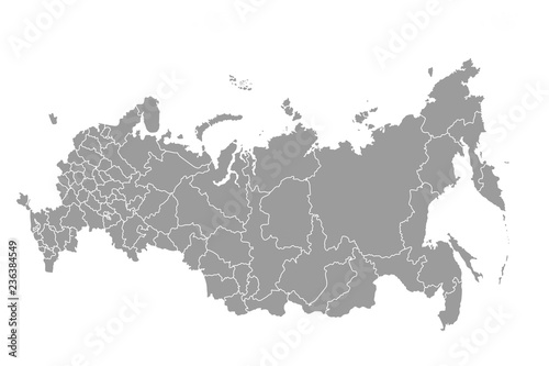 Schematic map of Russia on a white background Fototapet