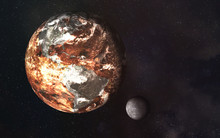 Dead Planet Earth And Moon In The Space. Global Warming Concept. Science Fiction. Elements Of This Image Were Furnished By NASA