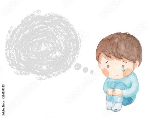 Canvas-taulu ひざをかかえて泣く男の子 フキダシ 水彩画