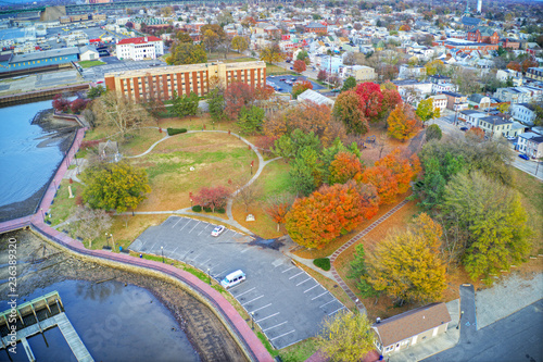 Aerial View of Delaware Riverfront Town Gloucester New Jersey Canvas-taulu