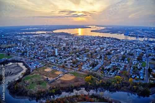Fényképezés  Aerial View of Delaware Riverfront Town Gloucester New Jersey