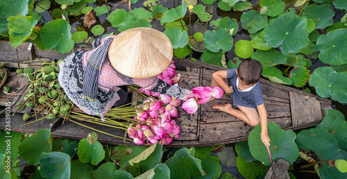 Garden Poster Lotus flower Top view of vietnamese boy playing with mom over the traditional wooden boat when padding for keep the pink lotus in the big lake at thap muoi, dong thap province, vietnam, culture and life concept