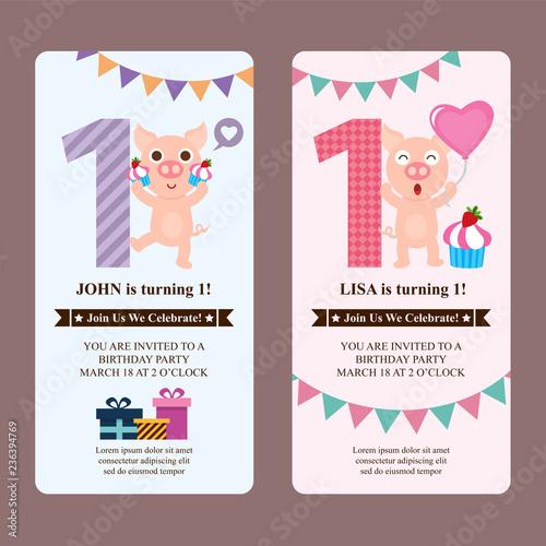 Photo  Birthday card invitation with cute pig