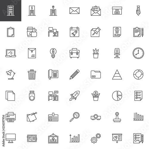 business outline icons set  linear style symbols collection, line signs  pack  vector graphics  set includes icons as bank office building, startup  rocket,