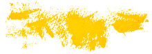 Yellow Hand Drawn Vector Brush Strokes. Grunge Distress Textured Design Element. Used As A Banner, Template, Logo.