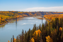 Suspension Bridge For Pedestrians And Bicycles Over The North Saskatchewan River In Edmonton Alberta Canada, On A Fall Day.