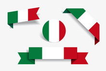 Italian Flag Stickers And Labels. Vector Illustration.