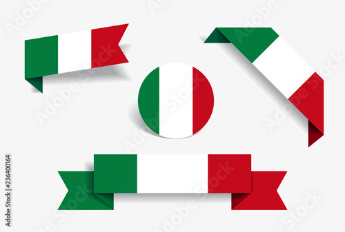 Fototapeta Italian flag stickers and labels. Vector illustration. obraz