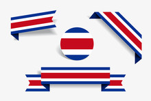 Costa Rican Flag Stickers And Labels. Vector Illustration.