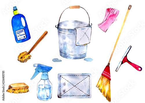 掃除道具のセット Fototapet