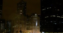 Numerous Fireworks Blast Off In Downtown Chicago At Night During The Magnificent Mile Parade On Michigan Avenue.