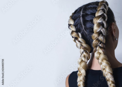 two thick braids of artificial hair, a youth hairdo, colored hai Canvas-taulu