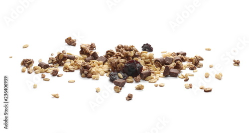 Crunchy granola, muesli with chocolate and cherry pieces isolated on white background