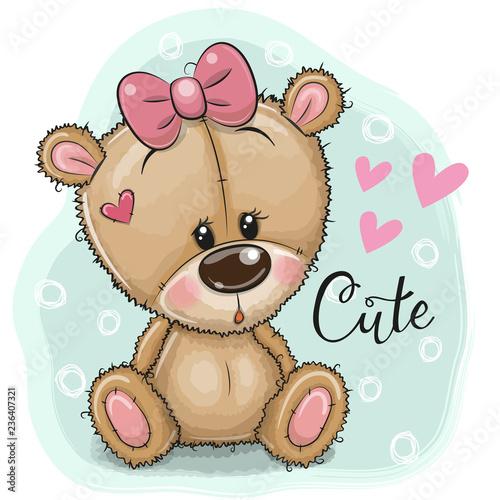 Greeting card Teddy Bear girl on a blue background