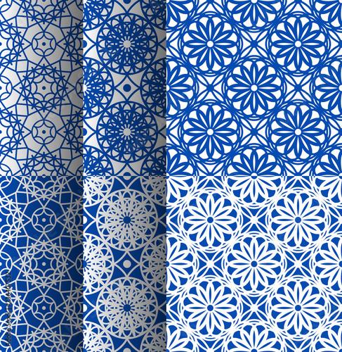 Vector oriental pattern in blue color Wallpaper Mural
