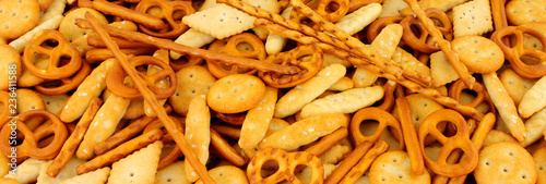 Valokuvatapetti Savoury pretzel and cracker snack mix background