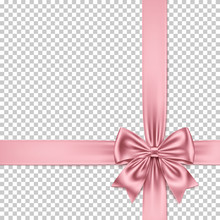Rose Gold Bow And Ribbon Isolated On Transparent Background.