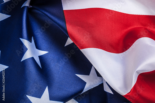 Poster Texas Beautifully waving star and striped American flag