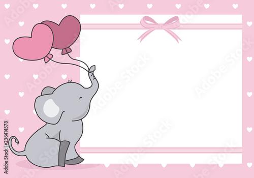 Fototapeta premium dziewczynka prysznic karta. słodki słoń z balonem. miejsce na tekst