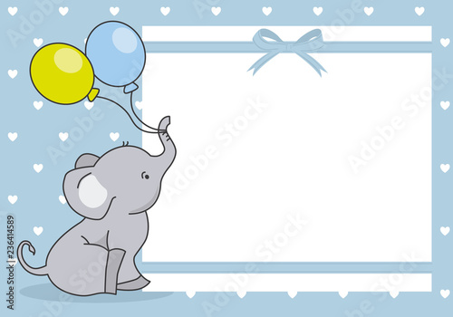 Fototapeta premium baby boy shower card. cute elephant with balloon. space for text