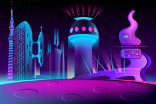 Vector Futuristic City On Other Planet, Alien Culture At Night. Bright Glowing Buildings In Cartoon Style, Modern Megapolis. Urban Skyscrapers In Neon Colors, Town Exterior, Architecture Background.