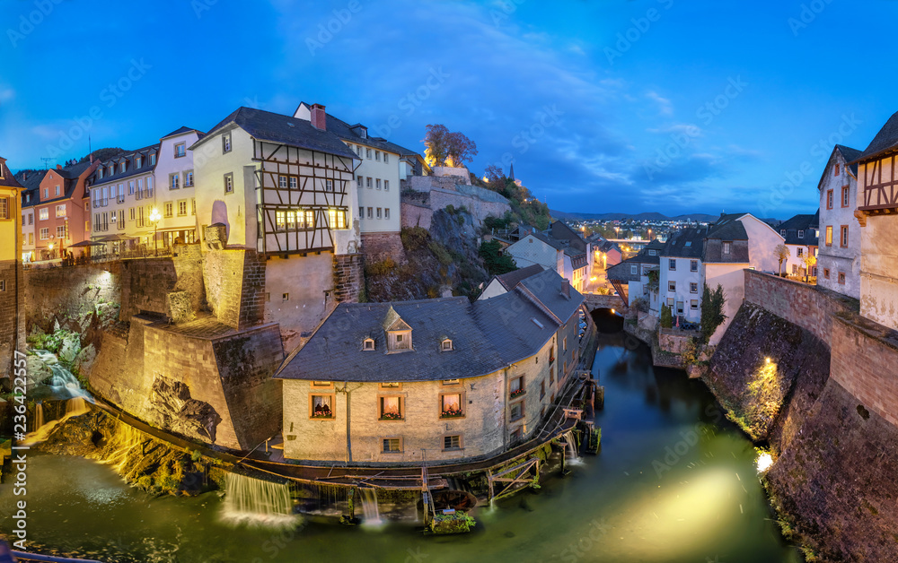 Fototapety, obrazy: Saarburg, Germany. Cityscape with Leuk River and old historic watermills at dusk