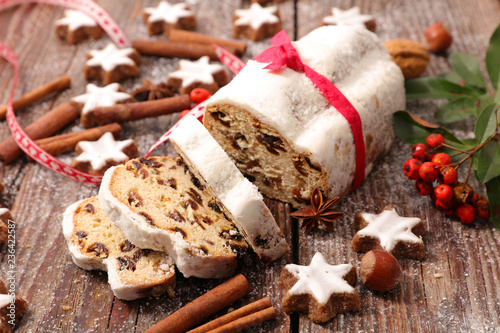 stollen fruit on wood background