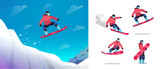 Snowboarder jumps from a springboard. A snowboard athlete performs a trick.   Character set snowboarder in different poses. Isolated vector illustration in   flat style on white background.